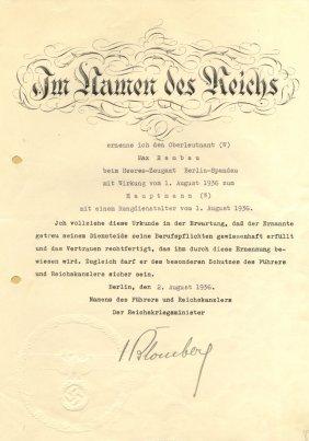 Blomberg Werner Von: (1878-1946) German Field Marshal