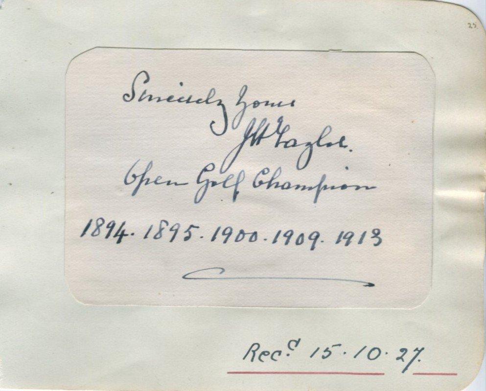 TAYLOR J. H.: (1871-1963) English Golfer, Open Champion