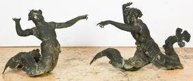 Pair of Patinated Bronze Mermen Garden Figures