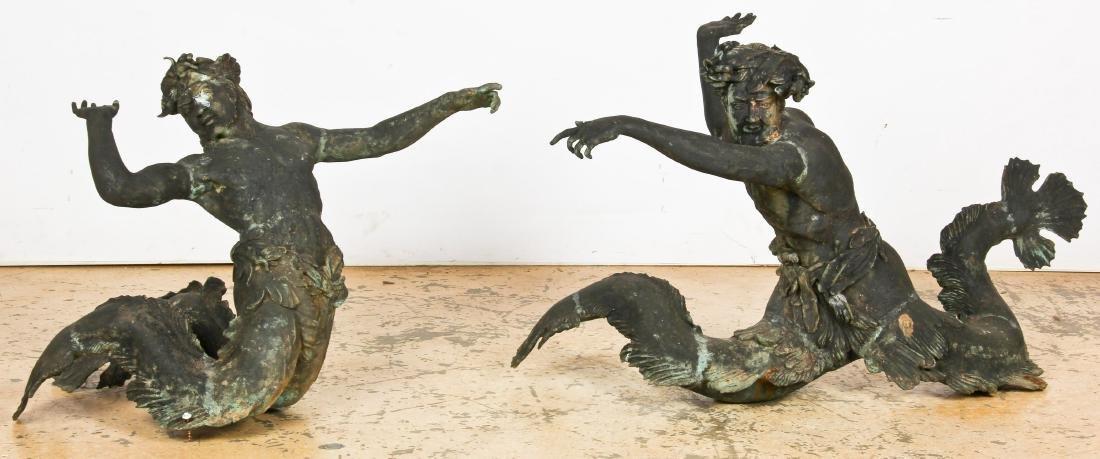 Pair of Patinated Bronze Mermen Garden Figures