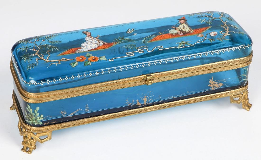 Chinoiserie Decorated Bohemian Glass Glove Box