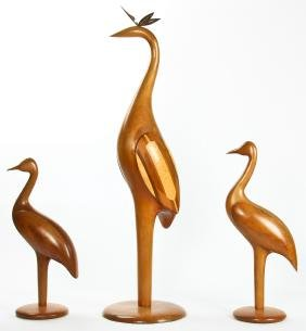 Paul LaMontagne (American) 3 Carved Wood Shore Birds
