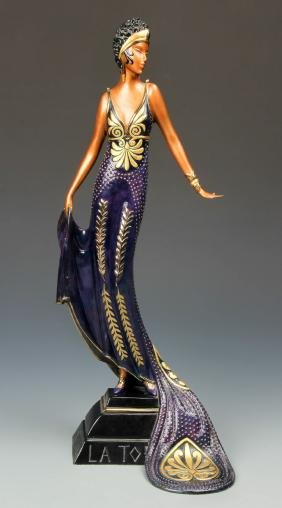"Erte (1892-1990) ""La Tosca"" Figural Bronze 1989 Edition"