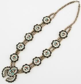 Native American Navajo Squash Blossom Necklace