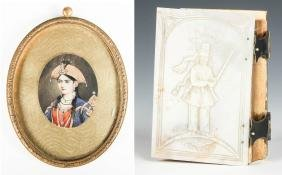 Antique Safavid Style Miniature Portrait and