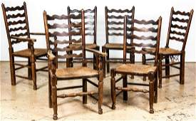6 Antique Queen Anne Style Ladder Back Chairs