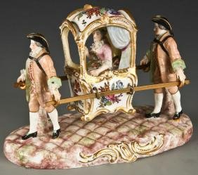 Dresden Porcelain Sedan Chair Figural Group