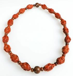 Chinese Hand Carved Nut Beaded Necklace