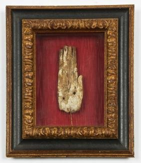 Framed Ancient Egyptian Carved Wood Artifact