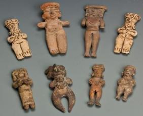8 Pre Columbian Colima Figures