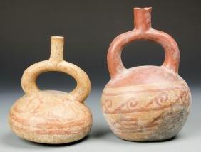 2 Pre Columbian Moche Stirrup Vessels