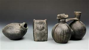 3 Pre Columbian Chimu Blackware Artifacts