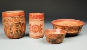 4 Pre Columbian Maya Earthenware Vessels