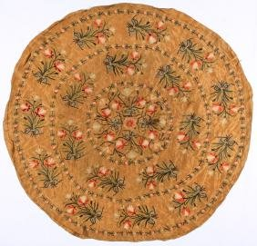 Fine 18th C. Silk Embroidered Ottoman or Continental