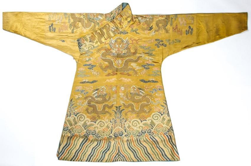 Important Chinese/Tibetan Silk Dragon Robe, 18th C