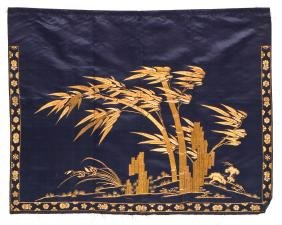 Fine Chinese Gold Thread Embroidery on Silk