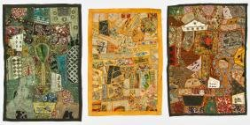 3 Indian Composite Abstract Embroideries