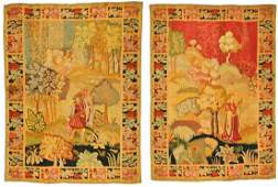 2 Antique Continental Pictorial Tapestries