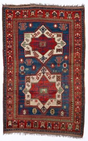 Antique Kazak Rug: 4'10'' x 7'6'' (147 x 229 cm)