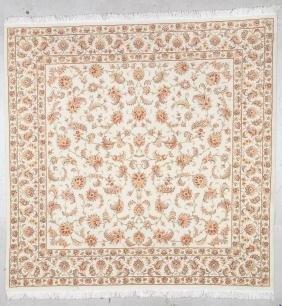 "Square Wool and Silk Tabriz Rug: 6'8"" x 6'9"" (203 x 206"