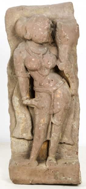 Antique Indian Carved Sandstone Parvati Stele
