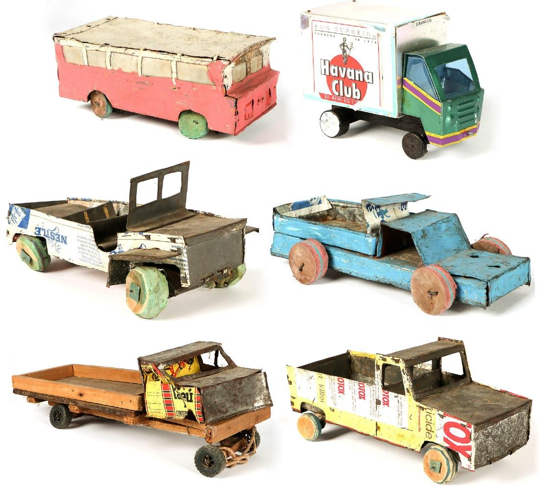 6 African Scrap Metal and Wood Toy Vehicles