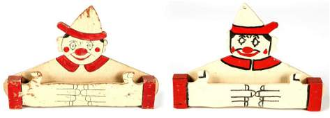 2 American Folk Art Clown Towel Racks