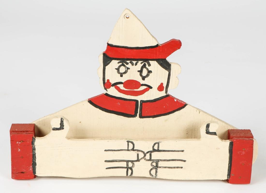 "2 American Folk Art ""Clown"" Towel Racks - 2"