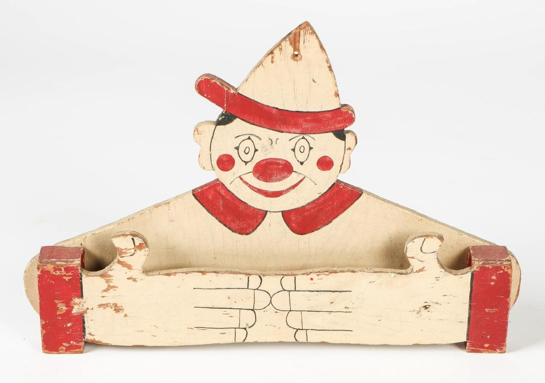 "2 American Folk Art ""Clown"" Towel Racks - 4"