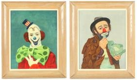 J.F. Colombo (American, 20th c.) Two Clown Portraits