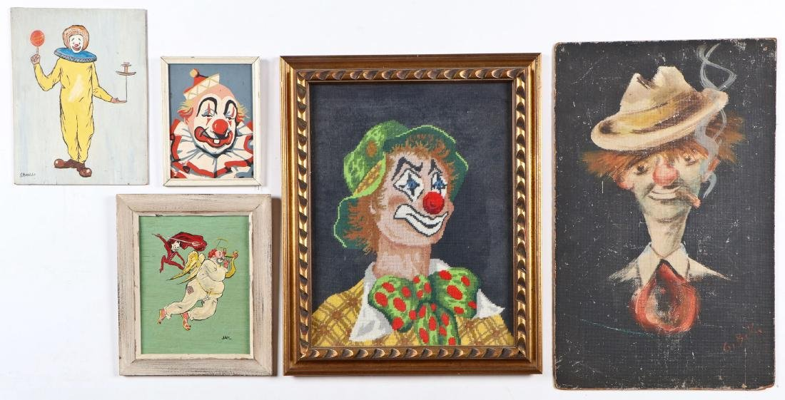 4 Clown Paintings and 1 Petit Point