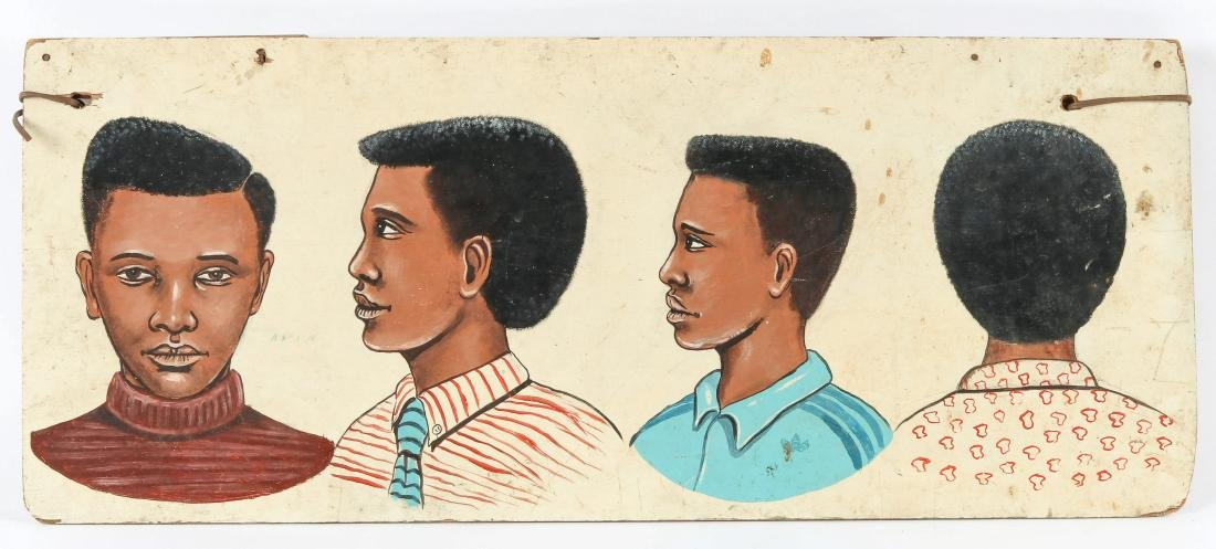 African Hand-painted Coiffeur Sign: 4 Boy Hair Style