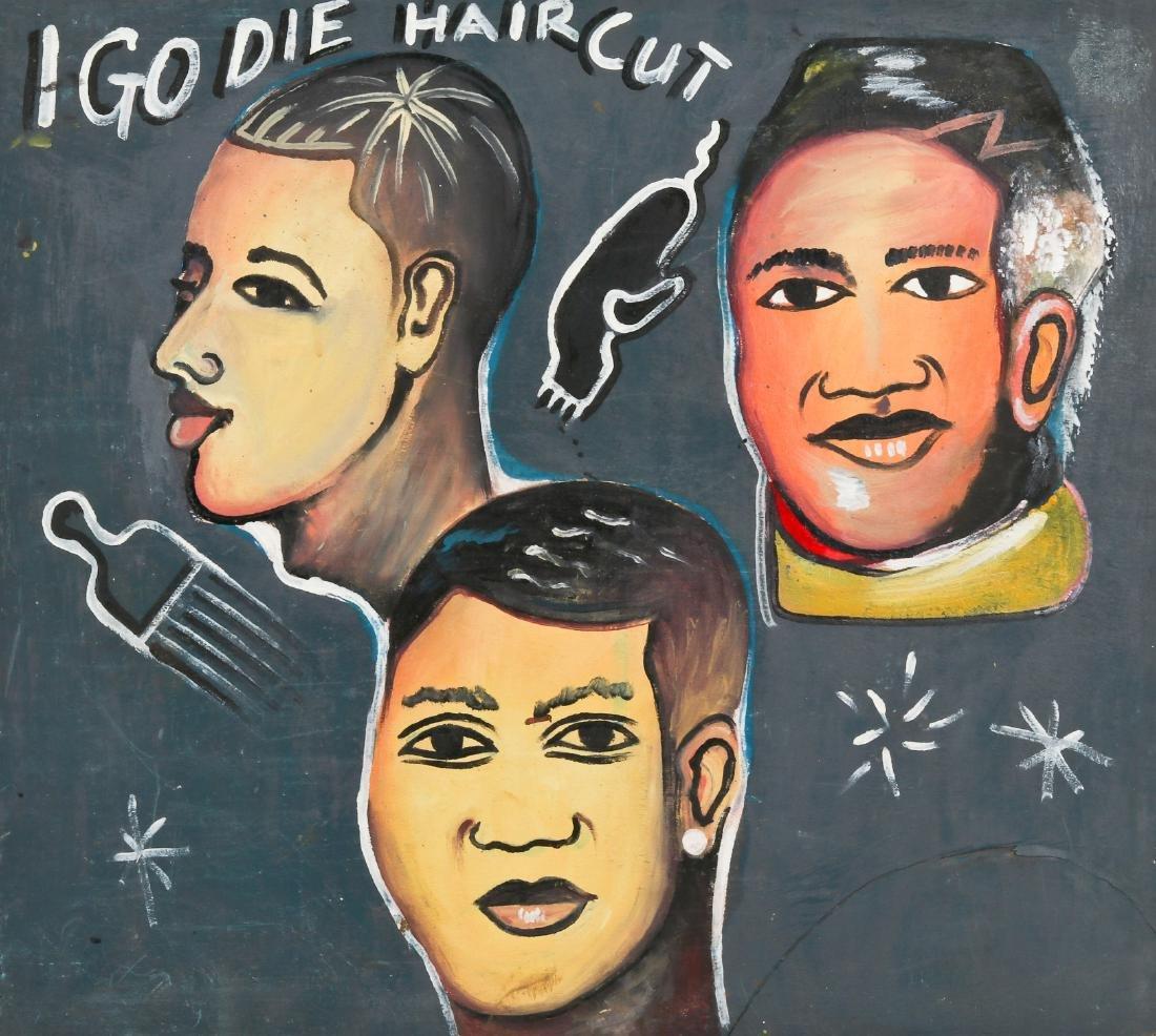 African Hand-painted Coiffeur Sign: Igo Die Haircut