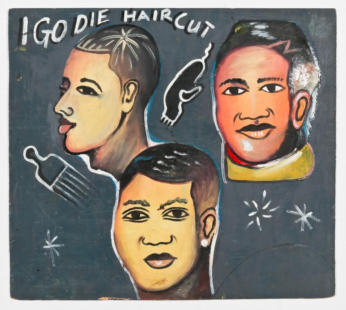 African Hand-painted Coiffeur Sign: Igo Die Haircut - 2