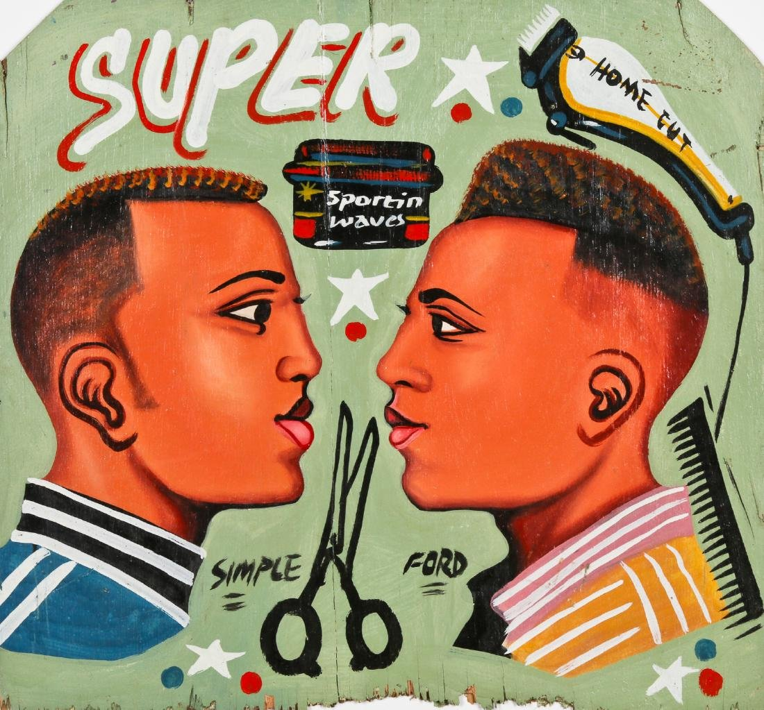 African Hand-painted Coiffeur Sign: Super Home Cut