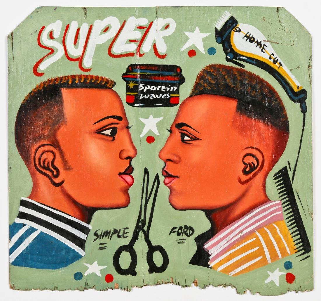 African Hand-painted Coiffeur Sign: Super Home Cut - 2