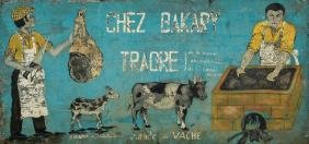 """Large """"Chez Bakery Traore"""" Painted Metal Sign"""