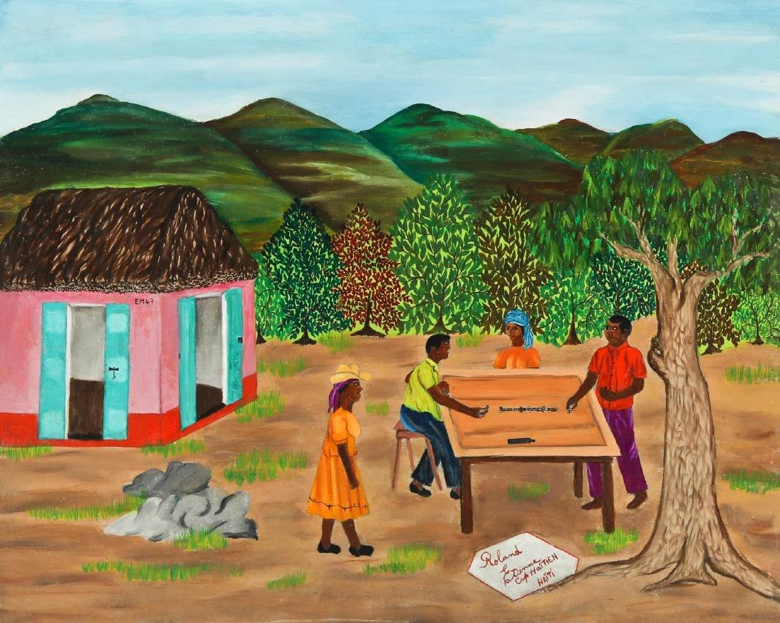 Roland Etienne (Haitian/Cap-Haïtien, 20th c.) Playing