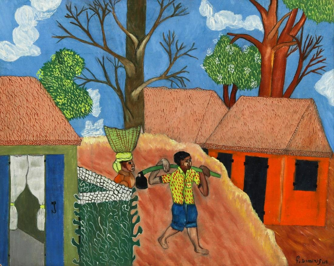 F. Dominique (Haitian, 20th c.) Working Couple Heading