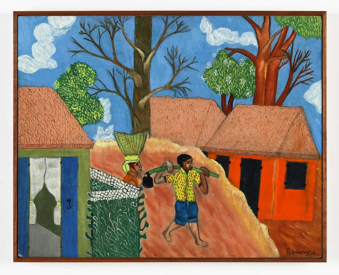 F. Dominique (Haitian, 20th c.) Working Couple Heading - 2