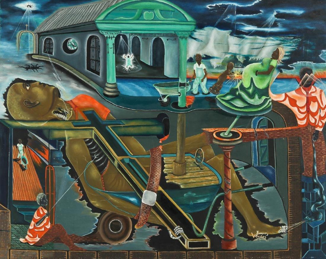 Jacques Wesley (20th c.) Surreal Cap-Haïtien Scene,