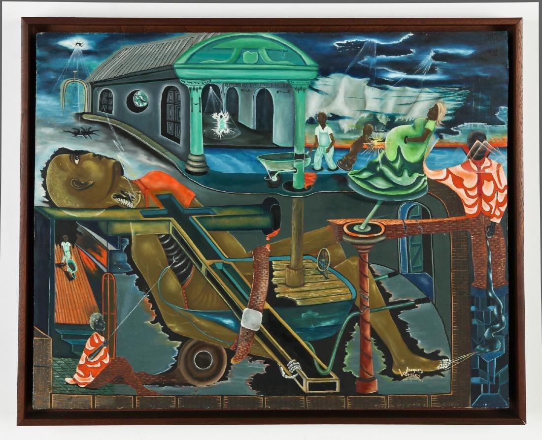 Jacques Wesley (20th c.) Surreal Cap-Haïtien Scene, - 2