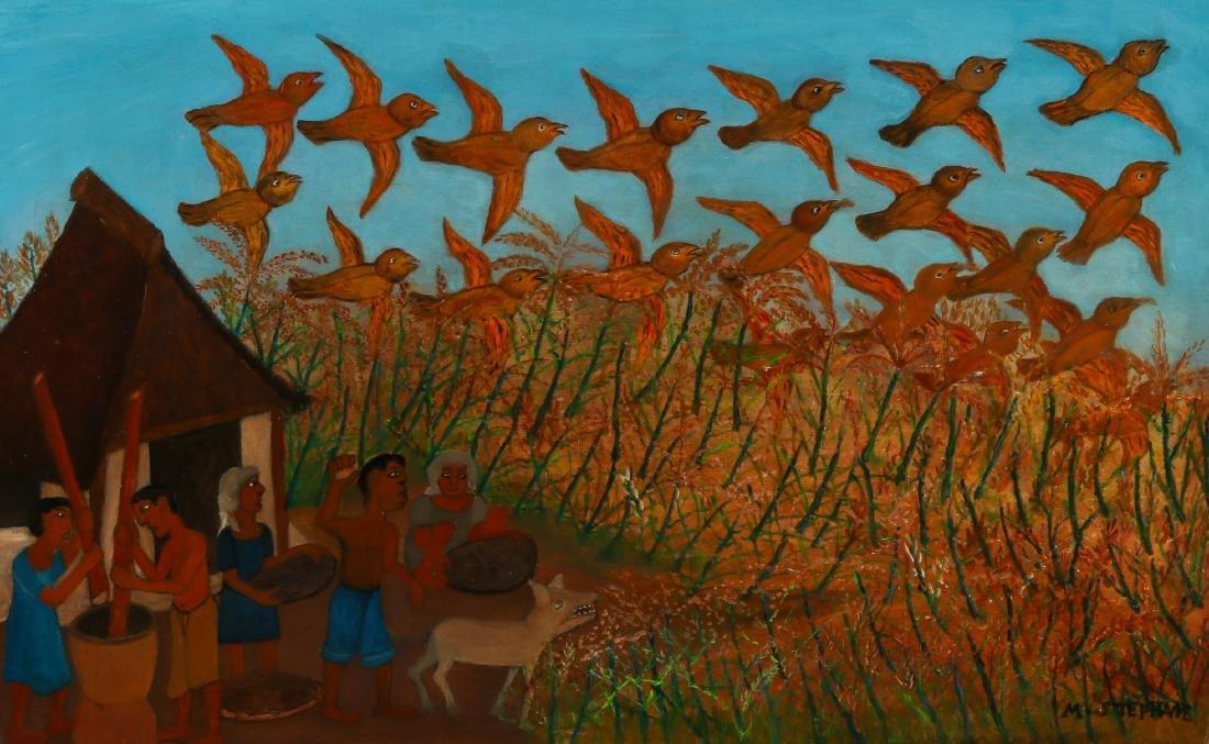 """Micius Stéphane (1912-1996) """"Scaring Off Birds"""", c."""