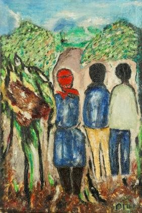 Odilon Pierre (1933-1988) Figures on Road