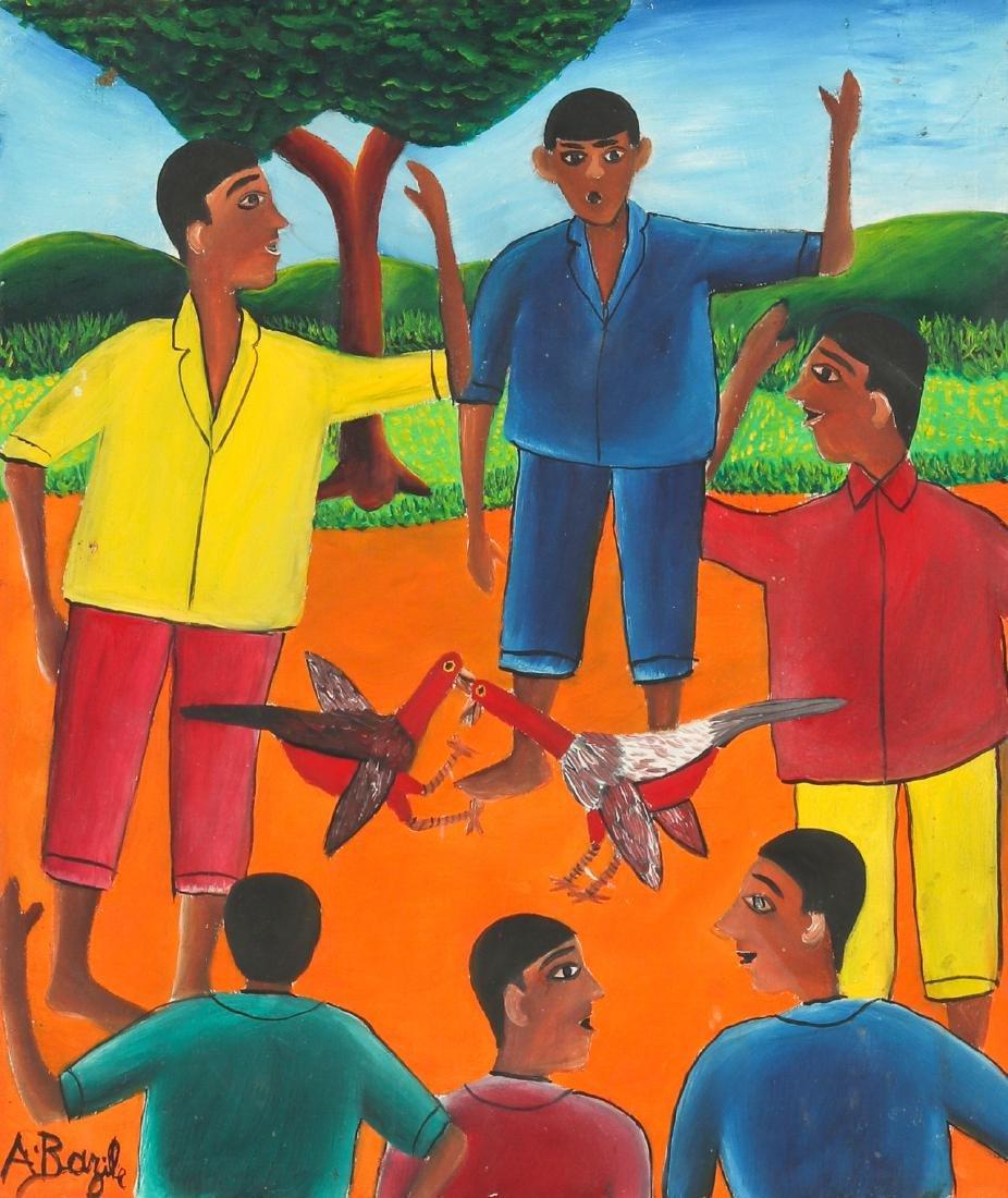 Alberoi Bazile (Haitian/Jacmel, 1920-2005) Cockfight