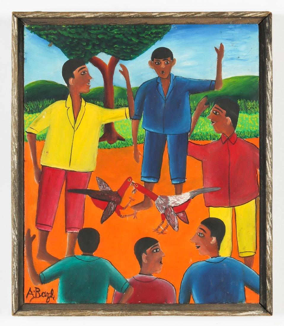 Alberoi Bazile (Haitian/Jacmel, 1920-2005) Cockfight - 2