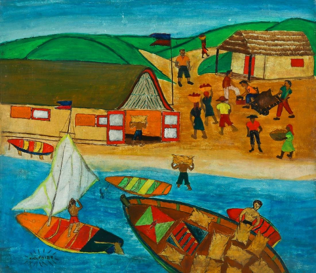 W. Voltaire (Haitian, 20th c.) Fishing Scene