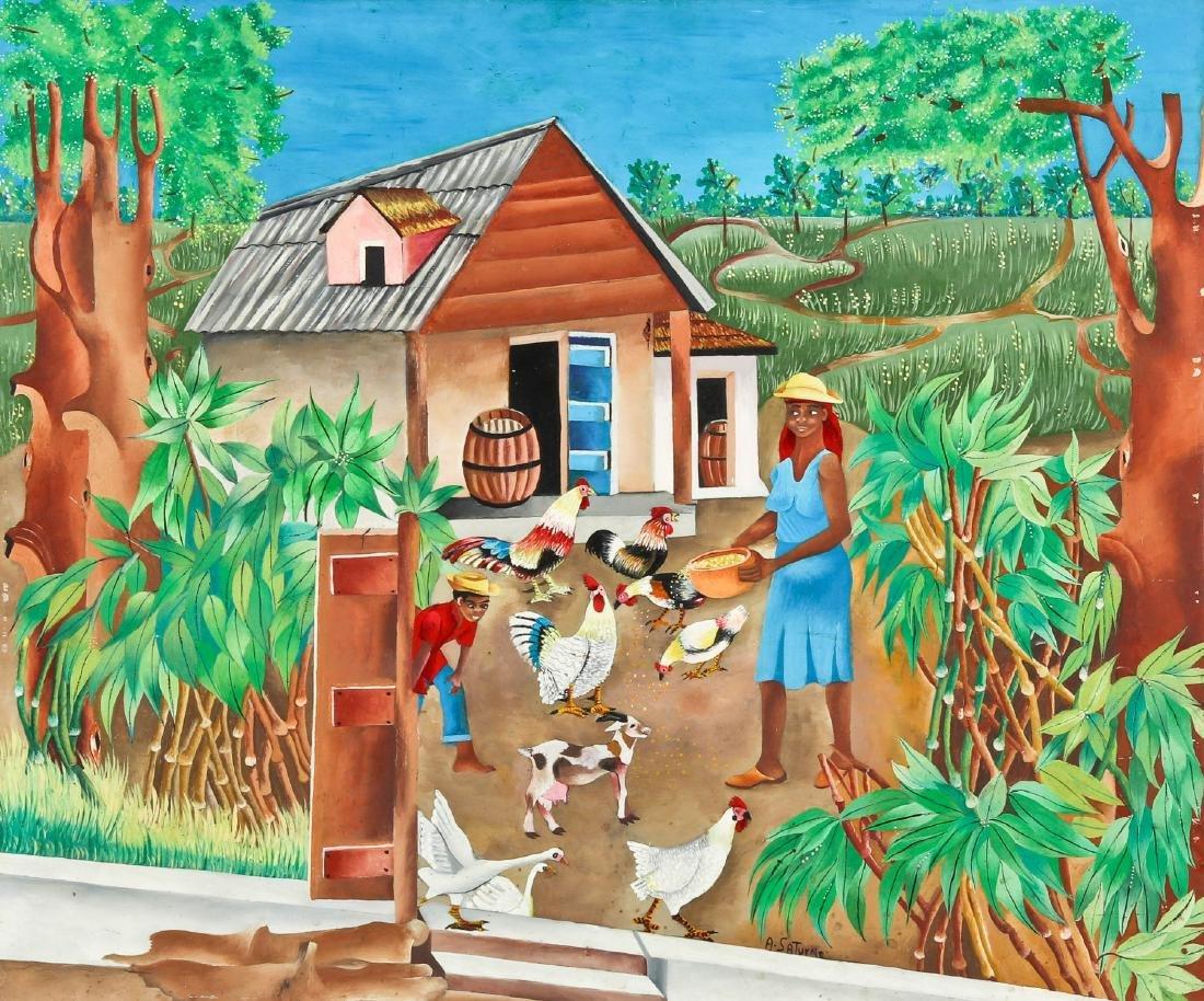 Andre Saturne (Haitian, 1923-1983) Farmyard Scene with