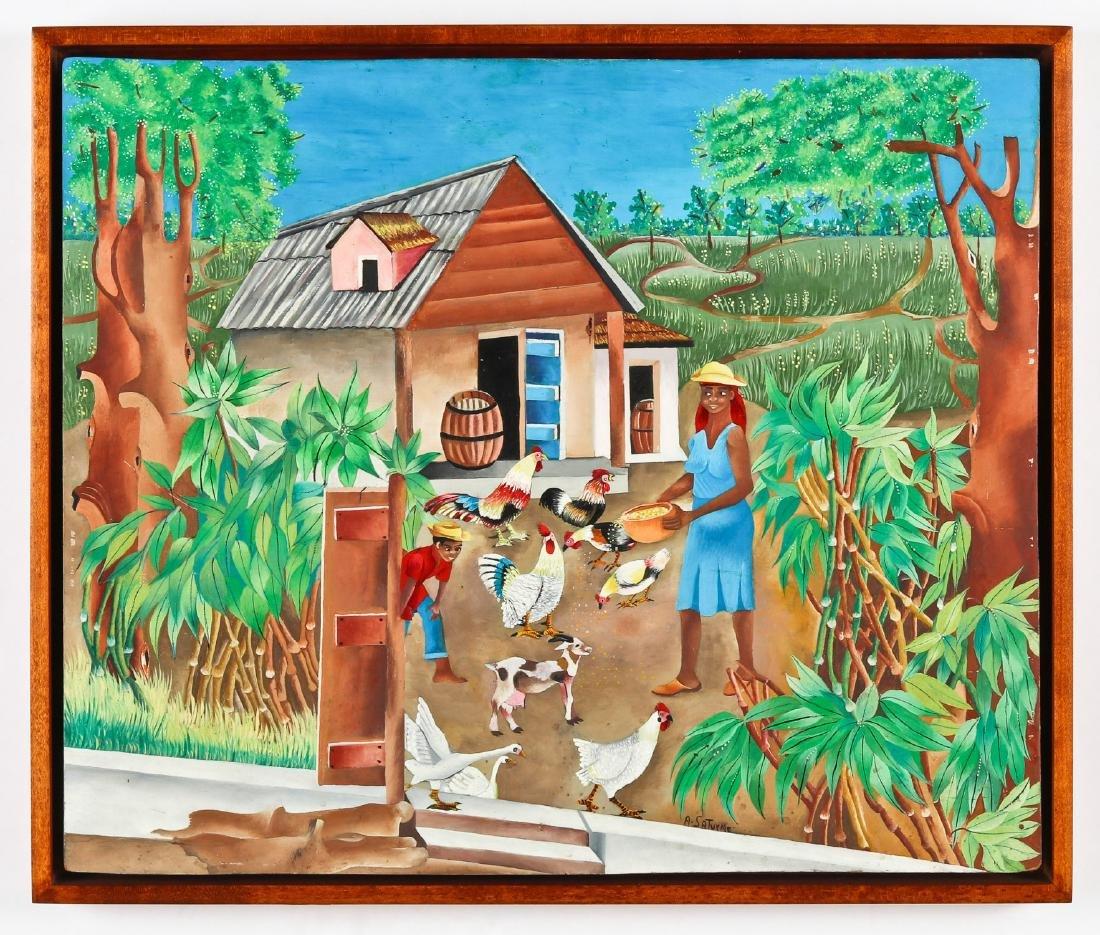 Andre Saturne (Haitian, 1923-1983) Farmyard Scene with - 2