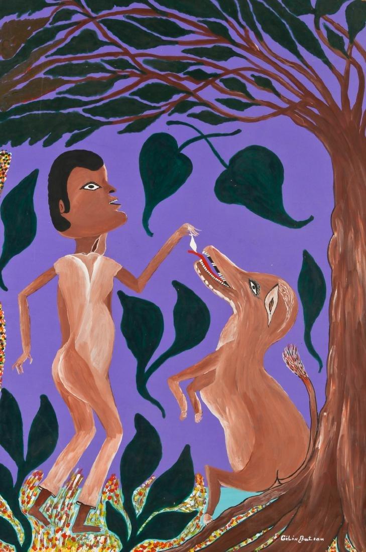 Gelin Buteau (Haitian, 1954-2000) Man Feeding Dog